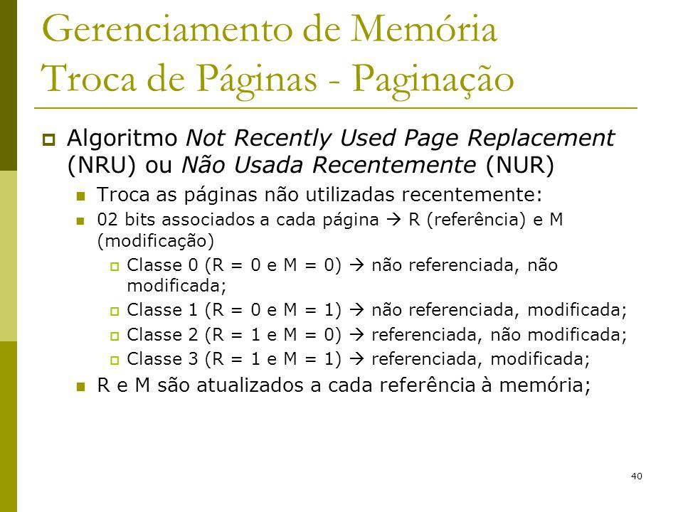 40 Gerenciamento de Memória Troca de Páginas - Paginação Algoritmo Not Recently Used Page Replacement (NRU) ou Não Usada Recentemente (NUR) Troca as p