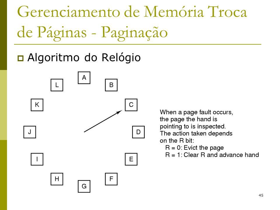 45 Gerenciamento de Memória Troca de Páginas - Paginação Algoritmo do Relógio