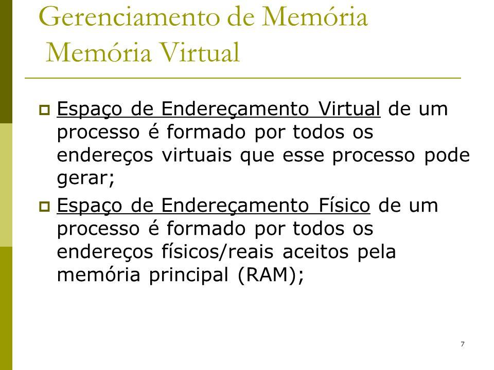 7 Gerenciamento de Memória Memória Virtual Espaço de Endereçamento Virtual de um processo é formado por todos os endereços virtuais que esse processo