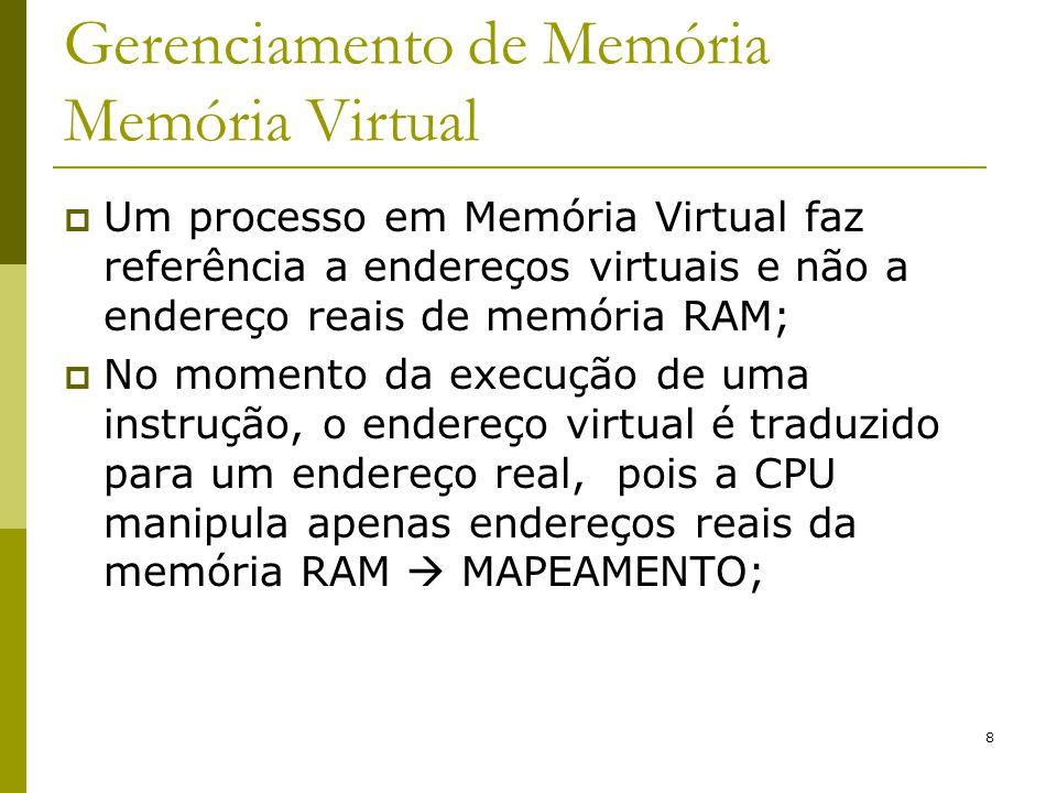 8 Gerenciamento de Memória Memória Virtual Um processo em Memória Virtual faz referência a endereços virtuais e não a endereço reais de memória RAM; N