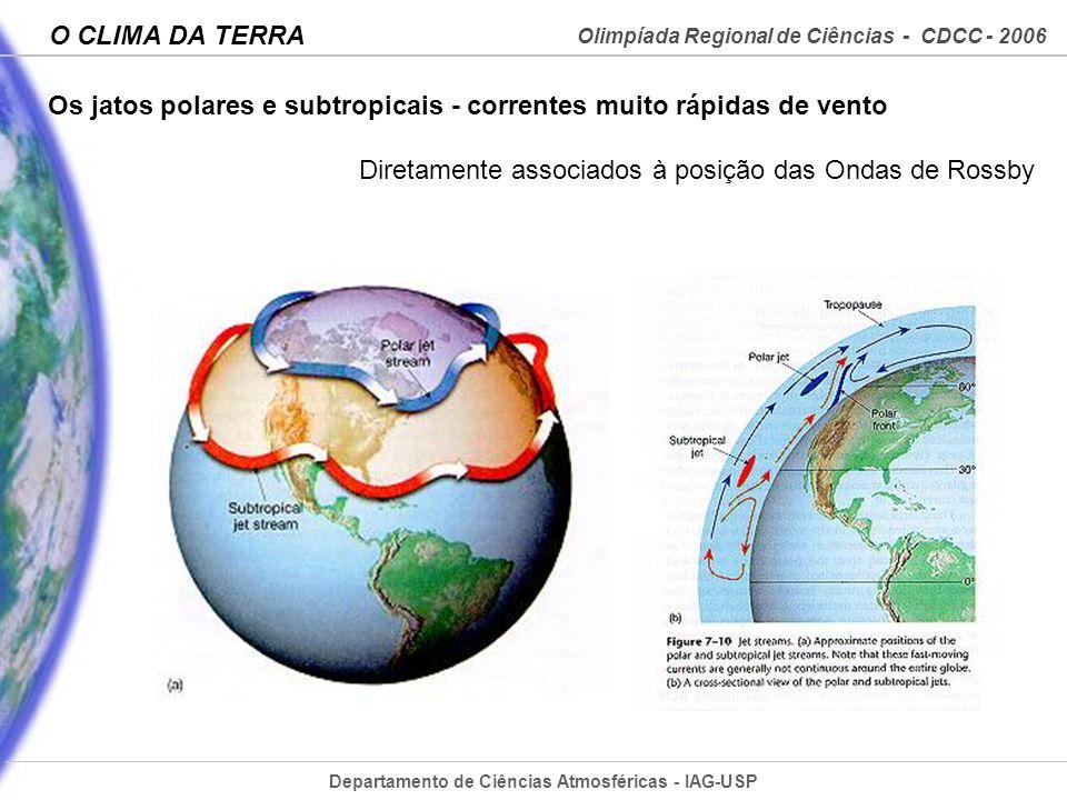 Departamento de Ciências Atmosféricas - IAG-USP Olimpíada Regional de Ciências - CDCC - 2006 O CLIMA DA TERRA Os jatos polares e subtropicais - corren