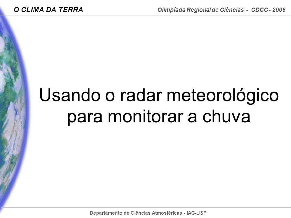 Departamento de Ciências Atmosféricas - IAG-USP Olimpíada Regional de Ciências - CDCC - 2006 O CLIMA DA TERRA Usando o radar meteorológico para monito