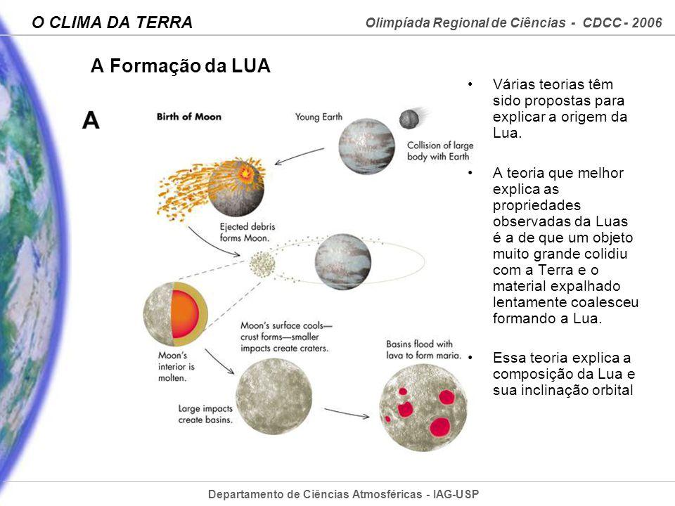 Departamento de Ciências Atmosféricas - IAG-USP Olimpíada Regional de Ciências - CDCC - 2006 O CLIMA DA TERRA A Formação da LUA Várias teorias têm sid