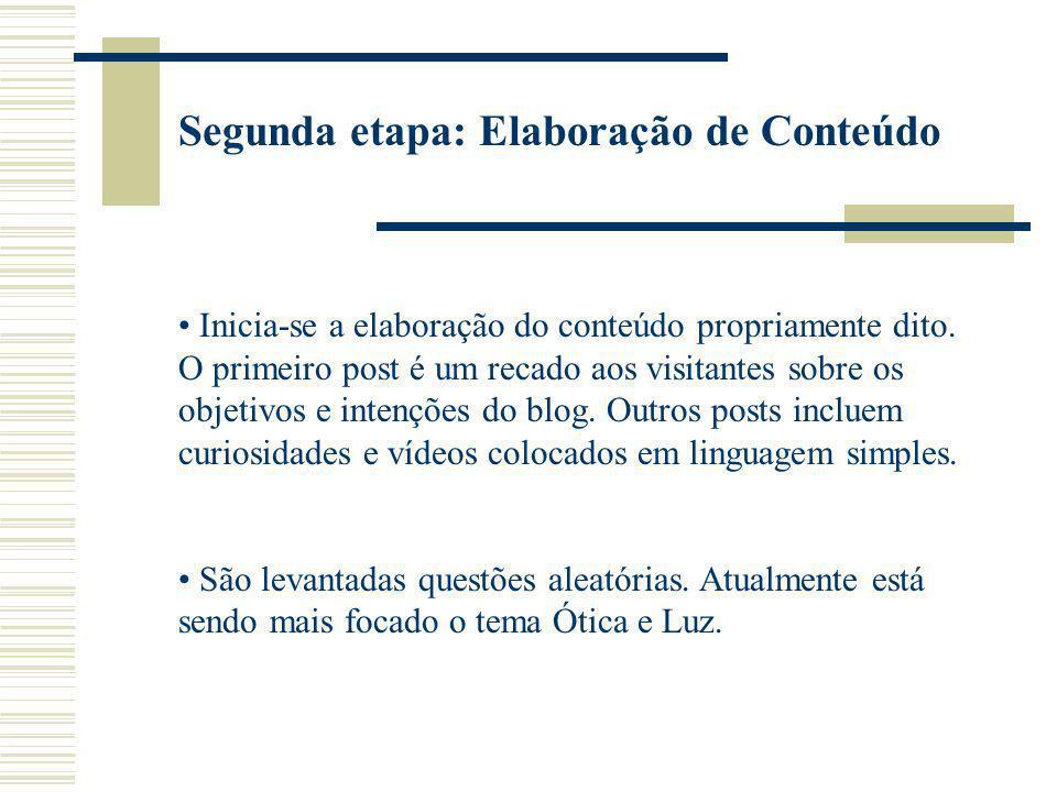 Segunda etapa: Elaboração de Conteúdo Inicia-se a elaboração do conteúdo propriamente dito. O primeiro post é um recado aos visitantes sobre os objeti