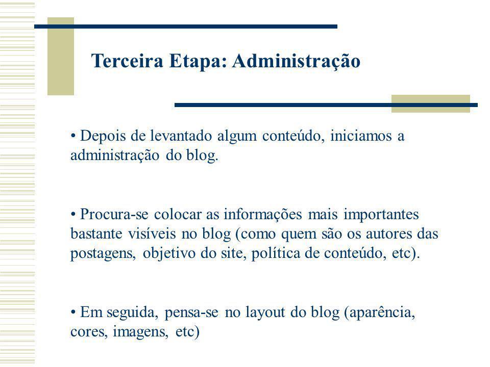 Terceira Etapa: Administração Depois de levantado algum conteúdo, iniciamos a administração do blog. Procura-se colocar as informações mais importante
