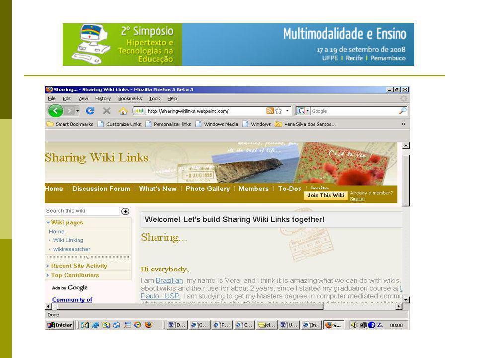 Projeto de pesquisa: Wiki como ambiente de construção colaborativa de textos multimodais em um cenário de educação não-formal: um telecentro da prefeitura de São Paulo.