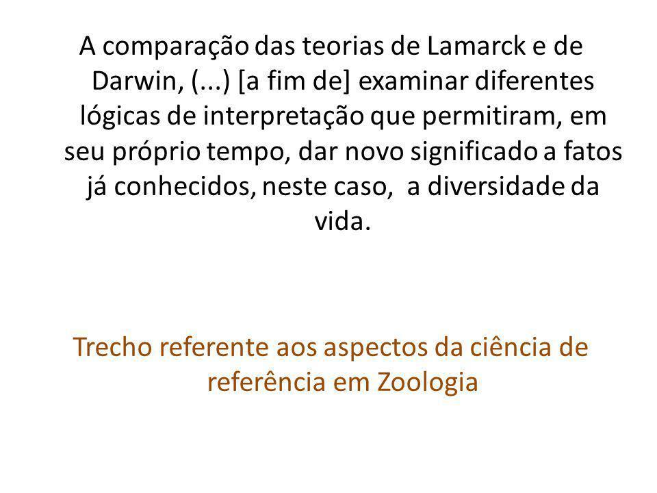 A comparação das teorias de Lamarck e de Darwin, (...) [a fim de] examinar diferentes lógicas de interpretação que permitiram, em seu próprio tempo, dar novo significado a fatos já conhecidos, neste caso, a diversidade da vida.