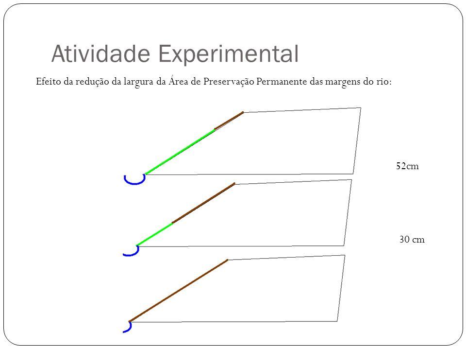 Atividade Experimental Efeito da redução da largura da Área de Preservação Permanente das margens do rio: 52cm 30 cm