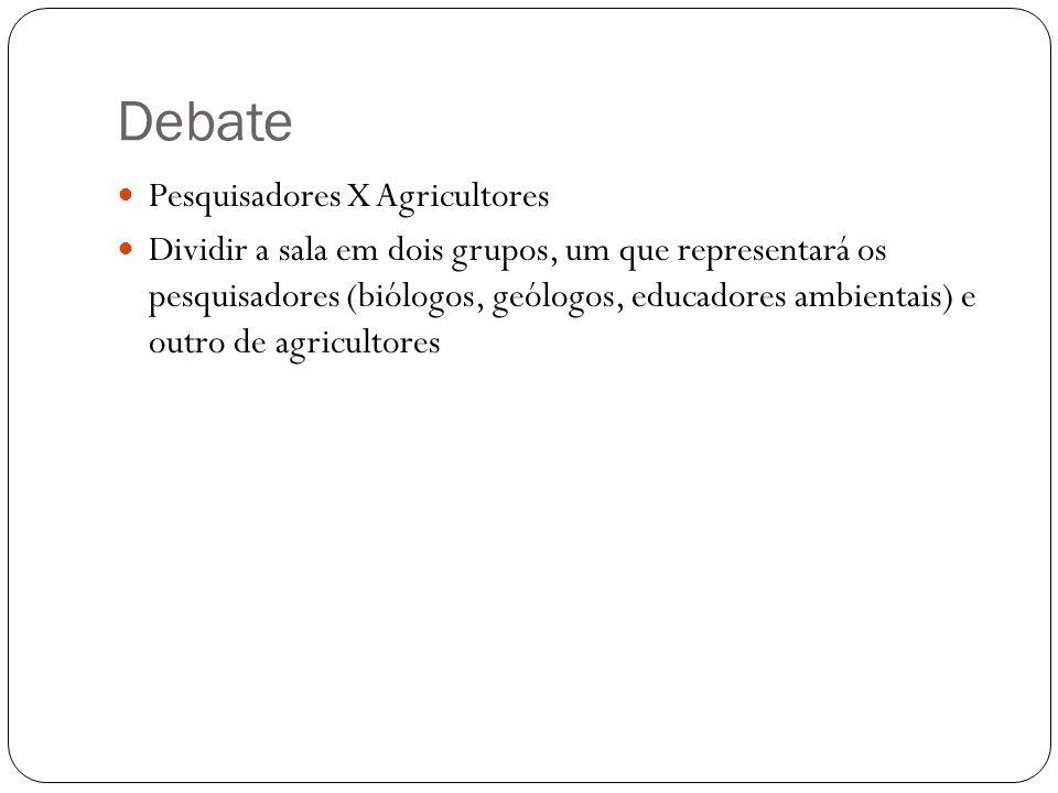 Debate Pesquisadores X Agricultores Dividir a sala em dois grupos, um que representará os pesquisadores (biólogos, geólogos, educadores ambientais) e outro de agricultores