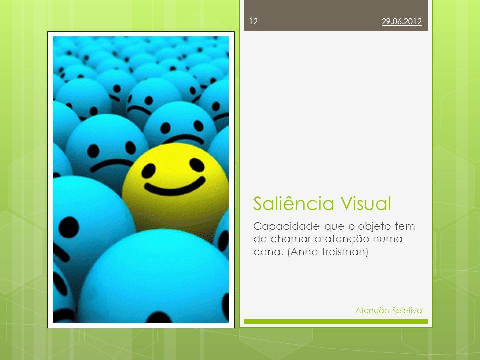 Saliência Visual Capacidade que o objeto tem de chamar a atenção numa cena. (Anne Treisman) 29.06.2012 Atenção Seletiva 12
