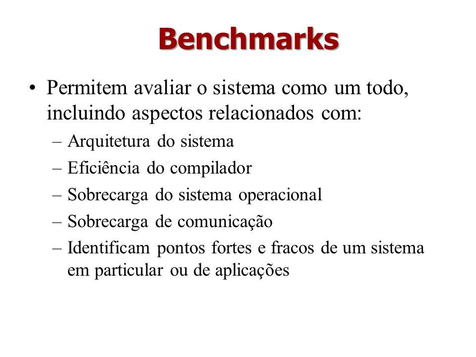 Permitem avaliar o sistema como um todo, incluindo aspectos relacionados com: –Arquitetura do sistema –Eficiência do compilador –Sobrecarga do sistema