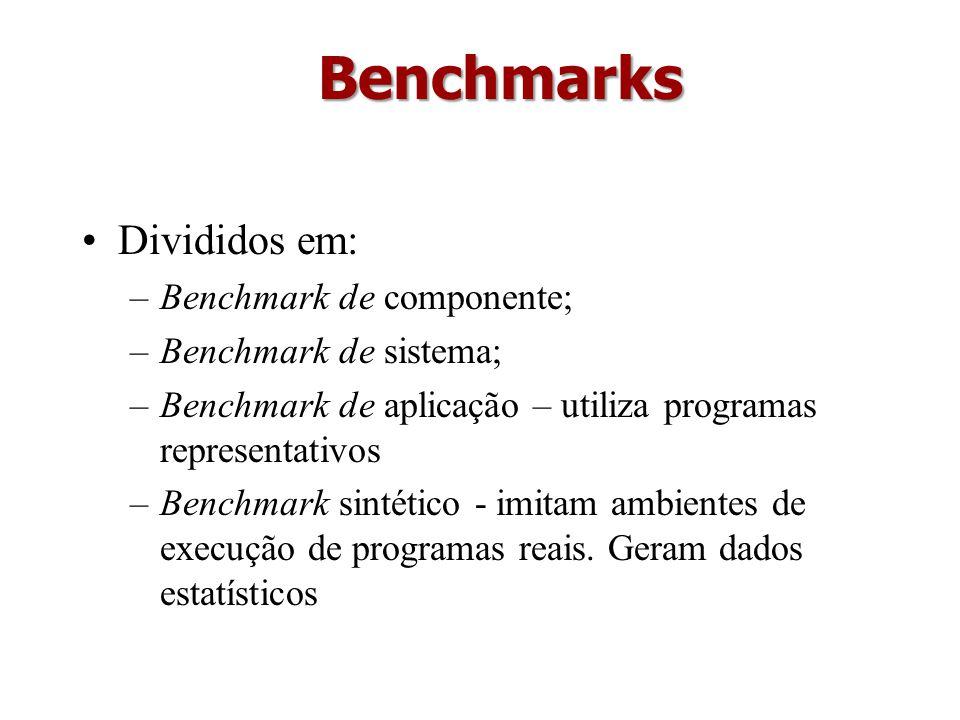 Divididos em: –Benchmark de componente; –Benchmark de sistema; –Benchmark de aplicação – utiliza programas representativos –Benchmark sintético - imit