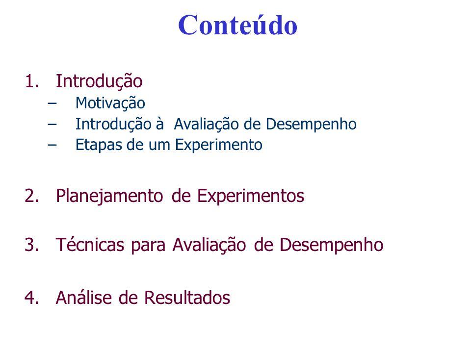 Conteúdo 1.Introdução –Motivação –Introdução à Avaliação de Desempenho –Etapas de um Experimento 2.Planejamento de Experimentos 3.Técnicas para Avalia