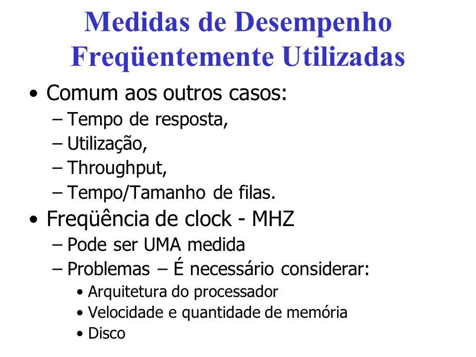 Medidas de Desempenho Freqüentemente Utilizadas Comum aos outros casos: –Tempo de resposta, –Utilização, –Throughput, –Tempo/Tamanho de filas. Freqüên