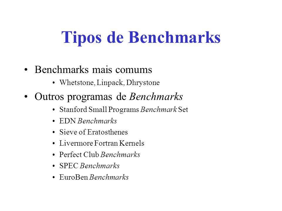 Tipos de Benchmarks Benchmarks mais comums Whetstone, Linpack, Dhrystone Outros programas de Benchmarks Stanford Small Programs Benchmark Set EDN Benc