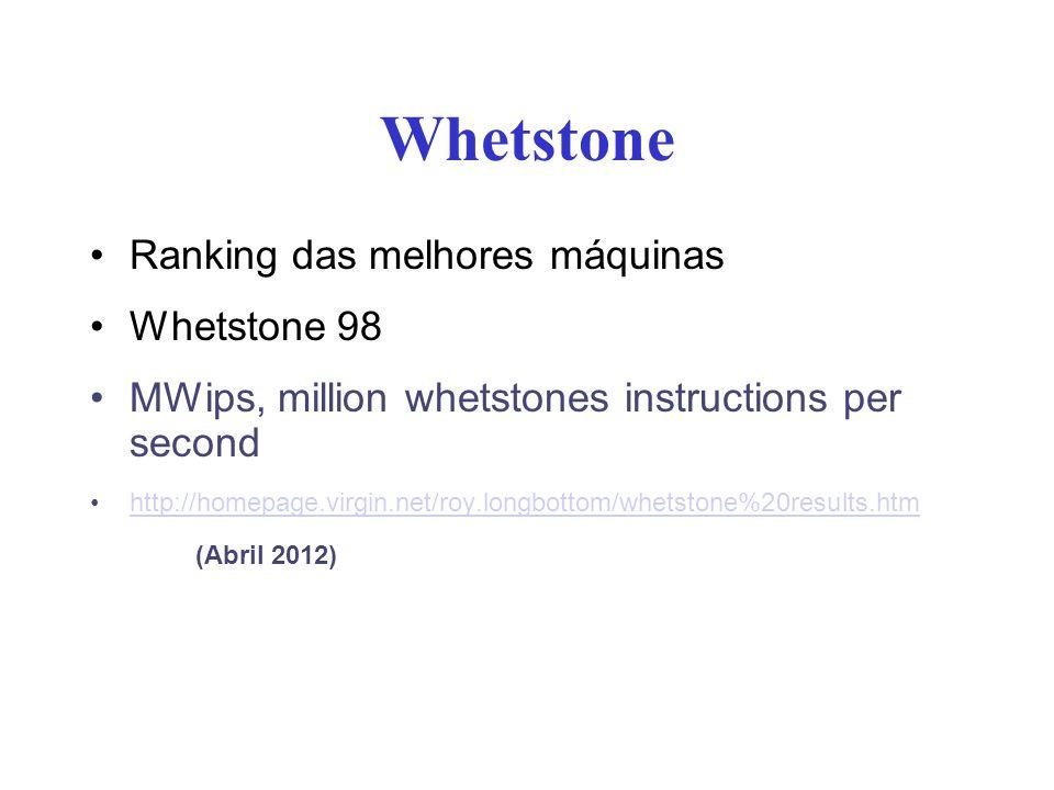 Whetstone Ranking das melhores máquinas Whetstone 98 MWips, million whetstones instructions per second http://homepage.virgin.net/roy.longbottom/whets