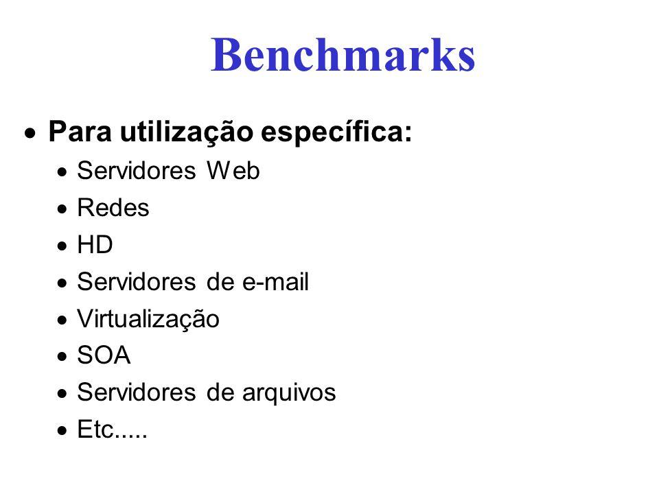 Para utilização específica: Servidores Web Redes HD Servidores de e-mail Virtualização SOA Servidores de arquivos Etc..... Benchmarks