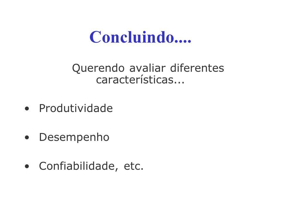 Concluindo.... Querendo avaliar diferentes características... Produtividade Desempenho Confiabilidade, etc.