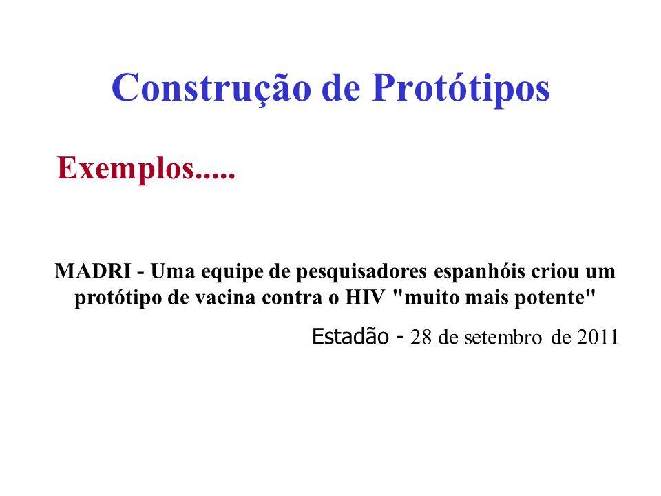 Construção de Protótipos Exemplos..... MADRI - Uma equipe de pesquisadores espanhóis criou um protótipo de vacina contra o HIV