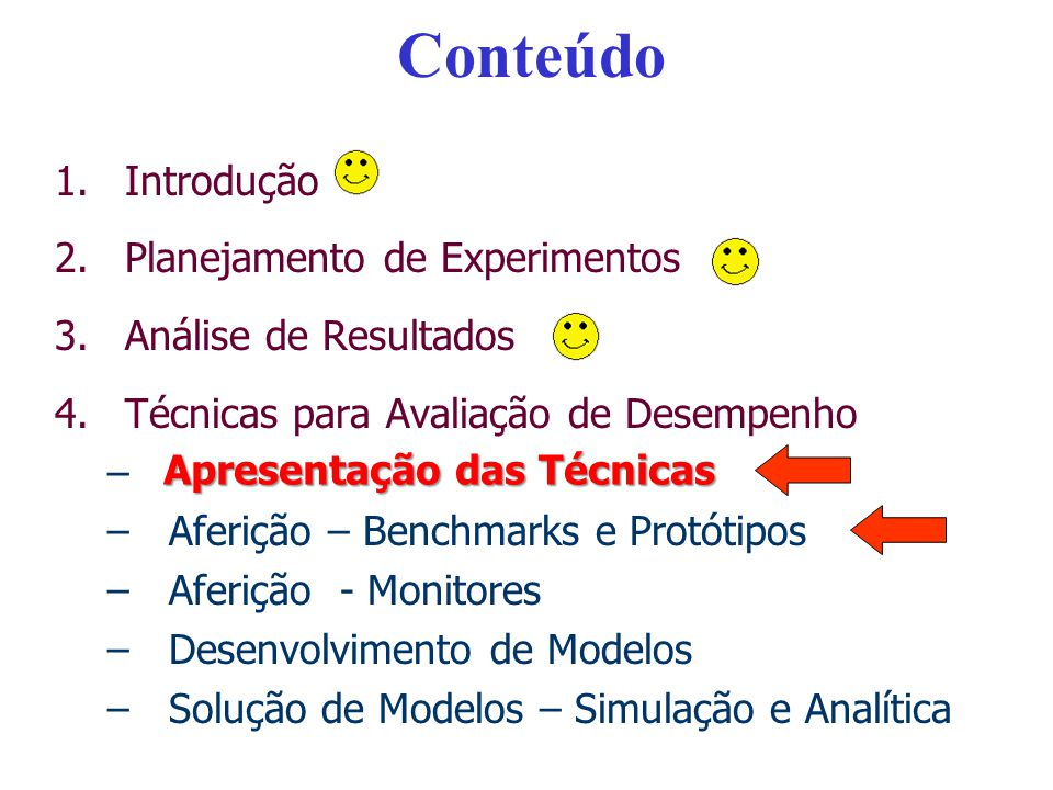 Conteúdo 1.Introdução 2.Planejamento de Experimentos 3.Análise de Resultados 4.Técnicas para Avaliação de Desempenho –Apresentação das Técnicas –Aferi