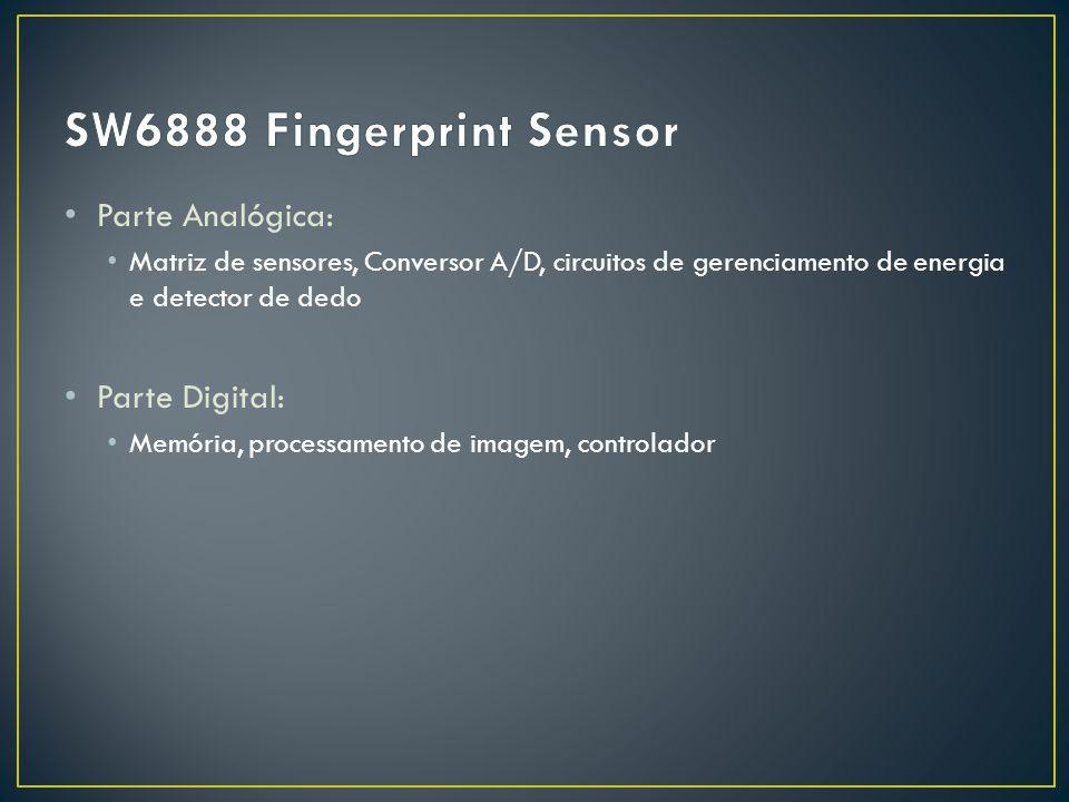 Parte Analógica: Matriz de sensores, Conversor A/D, circuitos de gerenciamento de energia e detector de dedo Parte Digital: Memória, processamento de