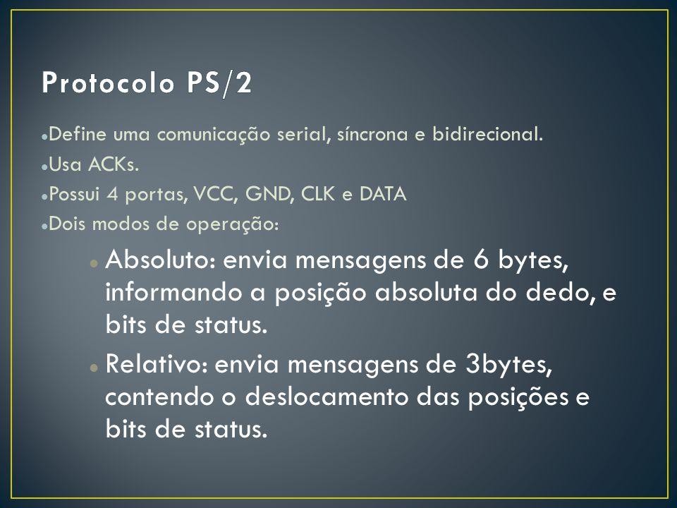 Define uma comunicação serial, síncrona e bidirecional. Usa ACKs. Possui 4 portas, VCC, GND, CLK e DATA Dois modos de operação: Absoluto: envia mensag
