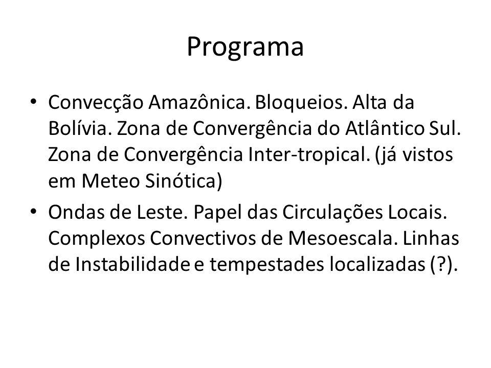 Programa Convecção Amazônica. Bloqueios. Alta da Bolívia. Zona de Convergência do Atlântico Sul. Zona de Convergência Inter-tropical. (já vistos em Me