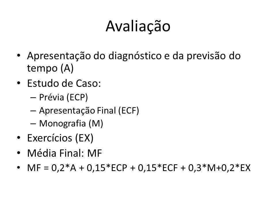 Avaliação Apresentação do diagnóstico e da previsão do tempo (A) Estudo de Caso: – Prévia (ECP) – Apresentação Final (ECF) – Monografia (M) Exercícios