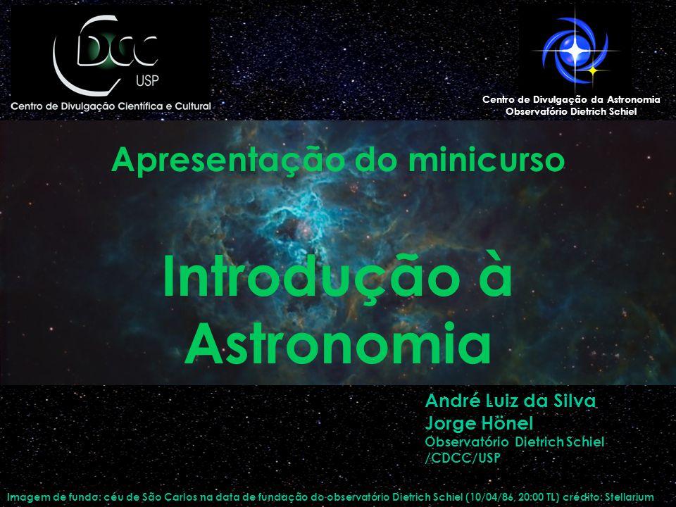 Apresentação do minicurso Introdução à Astronomia Imagem de fundo: céu de São Carlos na data de fundação do observatório Dietrich Schiel (10/04/86, 20