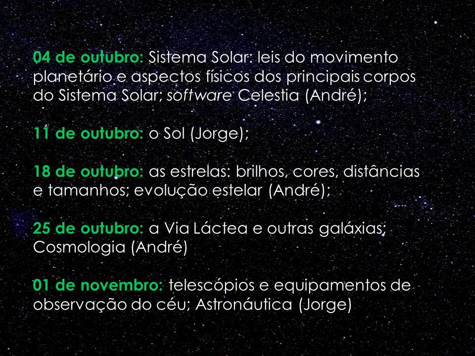 04 de outubro: Sistema Solar: leis do movimento planetário e aspectos físicos dos principais corpos do Sistema Solar; software Celestia (André); 11 de outubro: o Sol (Jorge); 18 de outubro: as estrelas: brilhos, cores, distâncias e tamanhos; evolução estelar (André); 25 de outubro: a Via Láctea e outras galáxias; Cosmologia (André) 01 de novembro: telescópios e equipamentos de observação do céu; Astronáutica (Jorge)