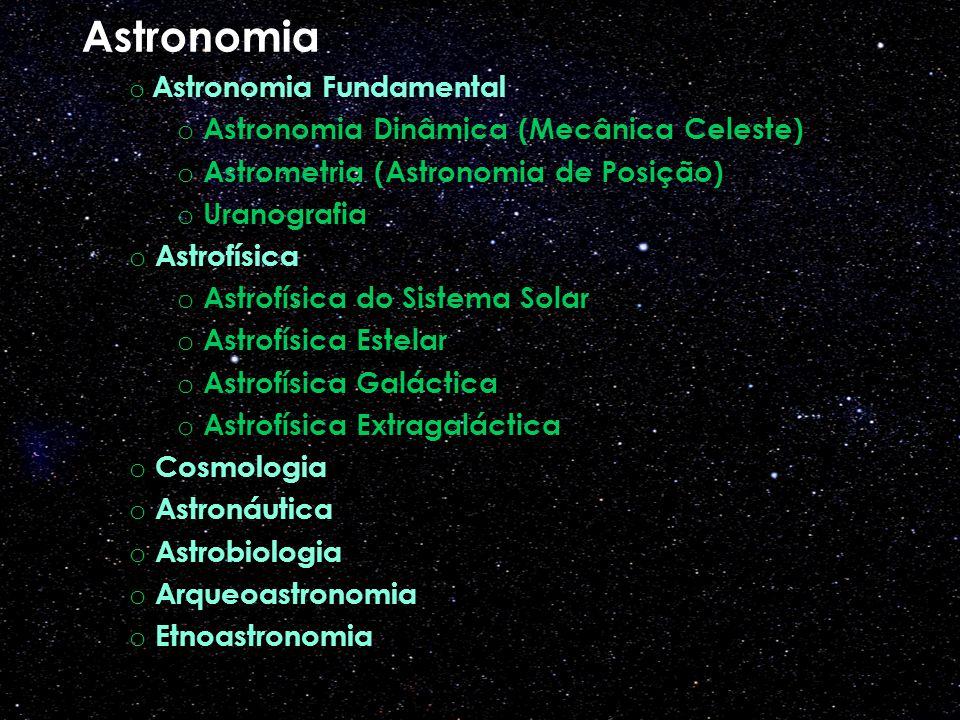 Astronomia o Astronomia Fundamental o Astronomia Dinâmica (Mecânica Celeste) o Astrometria (Astronomia de Posição) o Uranografia o Astrofísica o Astrofísica do Sistema Solar o Astrofísica Estelar o Astrofísica Galáctica o Astrofísica Extragaláctica o Cosmologia o Astronáutica o Astrobiologia o Arqueoastronomia o Etnoastronomia