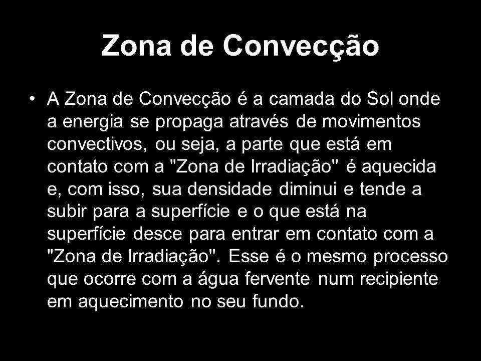 Zona de Convecção A Zona de Convecção é a camada do Sol onde a energia se propaga através de movimentos convectivos, ou seja, a parte que está em cont