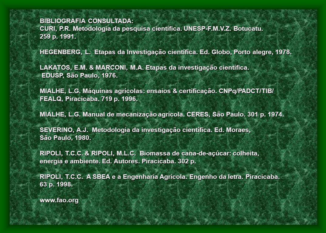 BIBLIOGRAFIA CONSULTADA: CURI, P.R. Metodologia da pesquisa científica. UNESP-F.M.V.Z. Botucatu. 259 p. 1991. HEGENBERG, L. Etapas da Investigação cie