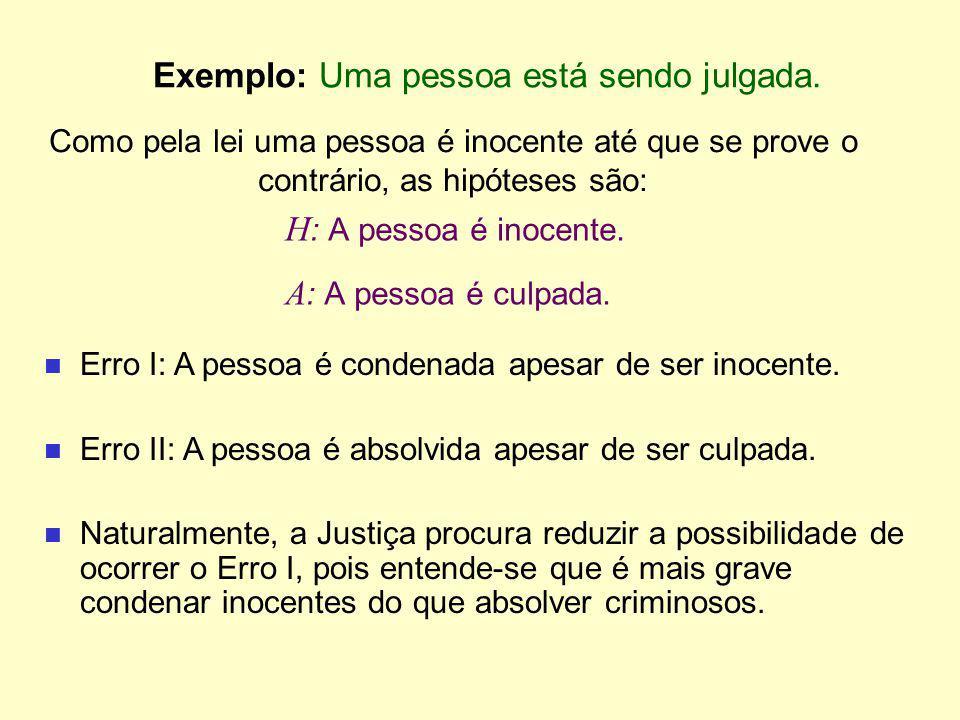 Exemplo: Uma pessoa está sendo julgada. H : A pessoa é inocente. A : A pessoa é culpada. Erro I: A pessoa é condenada apesar de ser inocente. Erro II: