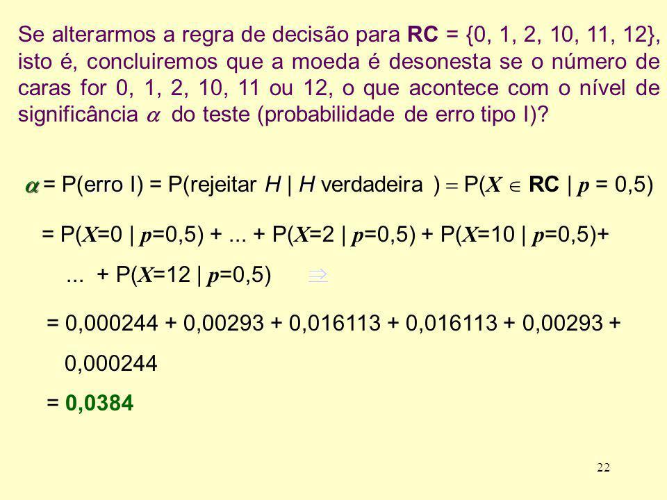 Se alterarmos a regra de decisão para RC = {0, 1, 2, 10, 11, 12}, isto é, concluiremos que a moeda é desonesta se o número de caras for 0, 1, 2, 10, 1