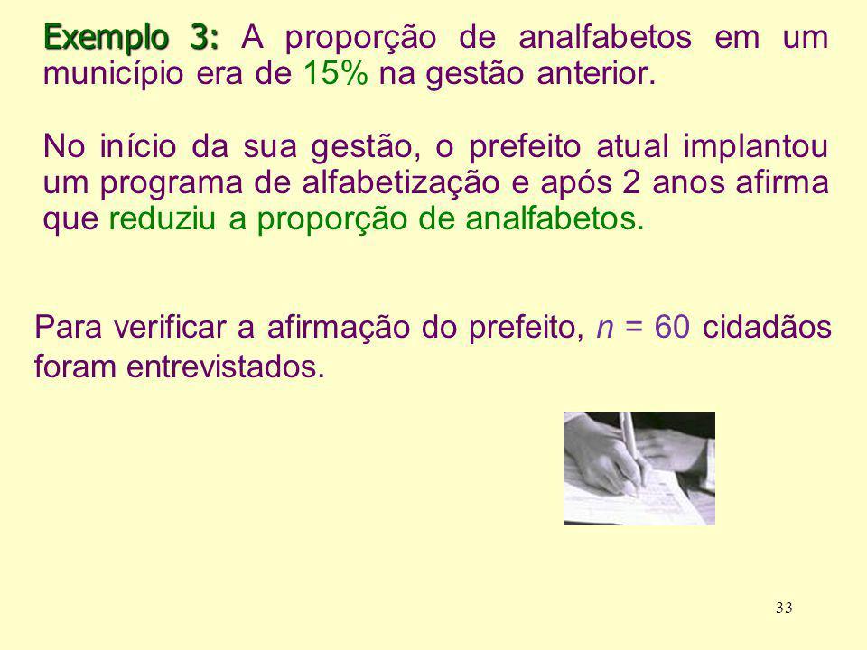 Exemplo 3: Exemplo 3: A proporção de analfabetos em um município era de 15% na gestão anterior. No início da sua gestão, o prefeito atual implantou um