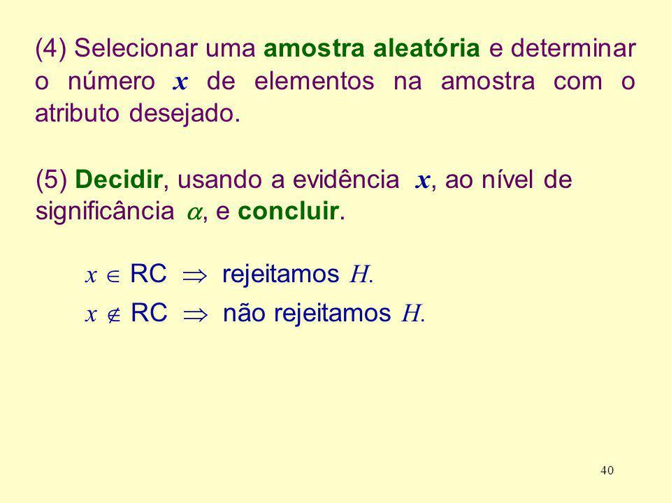 (4) Selecionar uma amostra aleatória e determinar o número x de elementos na amostra com o atributo desejado. (5) Decidir, usando a evidência x, ao ní