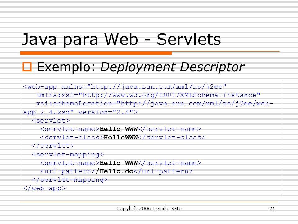Copyleft 2006 Danilo Sato21 Java para Web - Servlets Exemplo: Deployment Descriptor <web-app xmlns=
