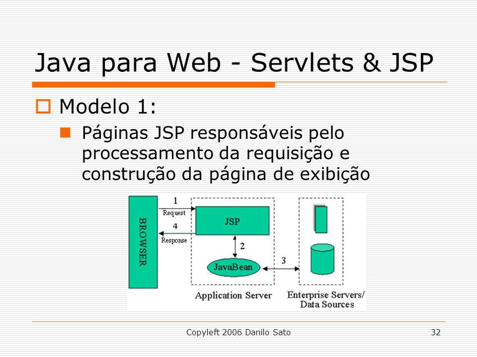 Copyleft 2006 Danilo Sato32 Java para Web - Servlets & JSP Modelo 1: Páginas JSP responsáveis pelo processamento da requisição e construção da página de exibição