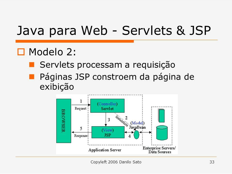 Copyleft 2006 Danilo Sato33 Java para Web - Servlets & JSP Modelo 2: Servlets processam a requisição Páginas JSP constroem da página de exibição