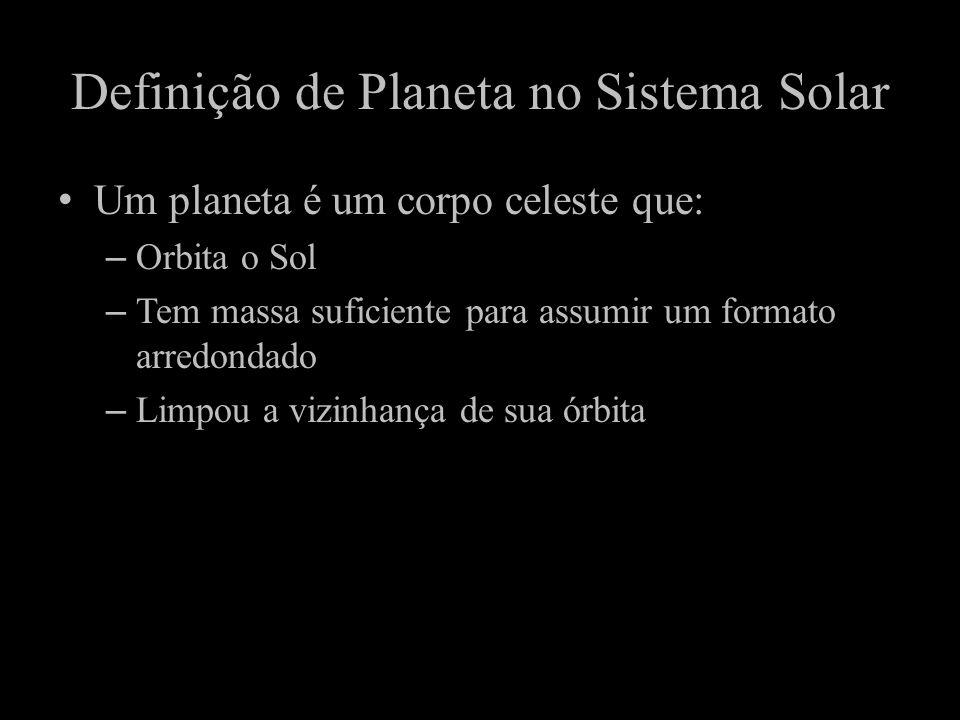 Definição de Planeta no Sistema Solar Um planeta é um corpo celeste que: –Orbita o Sol –Tem massa suficiente para assumir um formato arredondado –Limp