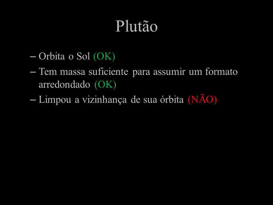 Plutão –Orbita o Sol (OK) –Tem massa suficiente para assumir um formato arredondado (OK) –Limpou a vizinhança de sua órbita (NÃO)