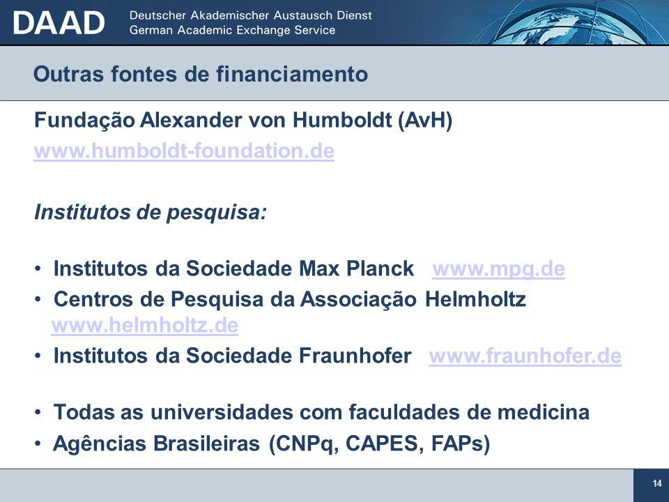 14 Fundação Alexander von Humboldt (AvH) www.humboldt-foundation.de Institutos de pesquisa: Institutos da Sociedade Max Planck www.mpg.dewww.mpg.de Ce