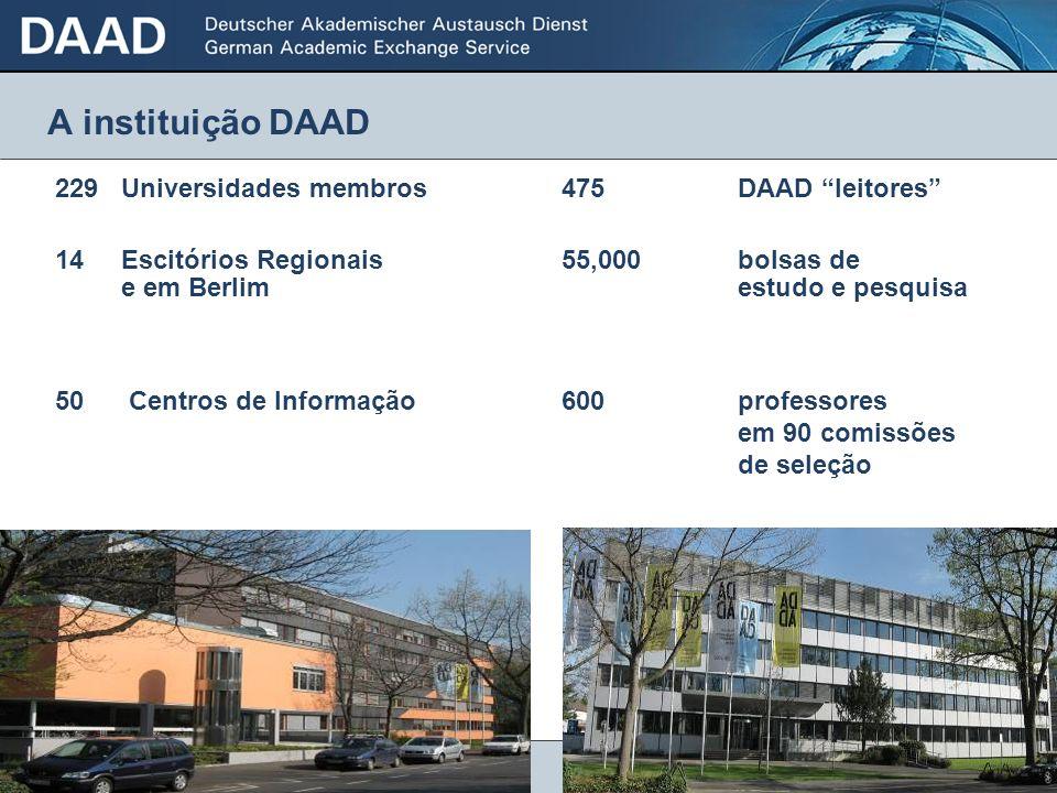 3 A instituição DAAD 229Universidades membros475 DAAD leitores 14 Escitórios Regionais55,000 bolsas de e em Berlim estudo e pesquisa 50 Centros de Inf