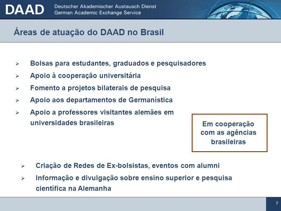 7 Áreas de atuação do DAAD no Brasil Bolsas para estudantes, graduados e pesquisadores Apoio à cooperação universitária Fomento a projetos bilaterais