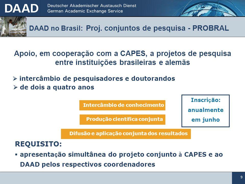 9 Apoio, em cooperação com a CAPES, a projetos de pesquisa entre instituições brasileiras e alemãs intercâmbio de pesquisadores e doutorandos de dois