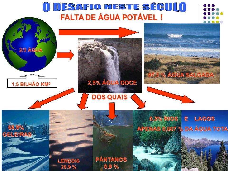 97,5 % ÁGUA SALGADA 2/3 ÁGUA 1,5 BILHÃO KM 3 0,3% RIOS E LAGOS APENAS 0,007 % DA ÁGUA TOTAL APENAS 0,007 % DA ÁGUA TOTAL PÂNTANOS 0,9 % LENÇOIS 29,9 % 68,9%GELEIRAS 2,5% ÁGUA DOCE DOS QUAIS