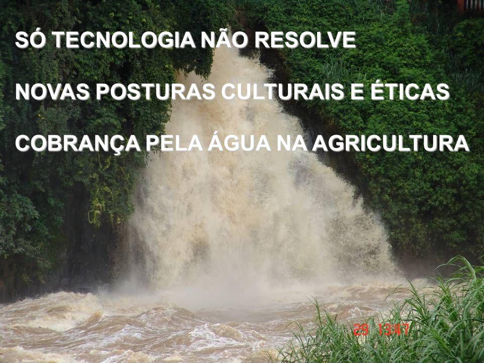 SÓ TECNOLOGIA NÃO RESOLVE NOVAS POSTURAS CULTURAIS E ÉTICAS COBRANÇA PELA ÁGUA NA AGRICULTURA