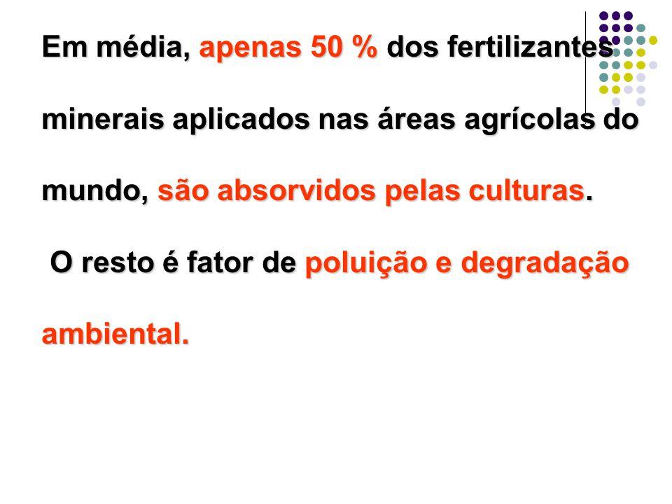 Em média, apenas 50 % dos fertilizantes minerais aplicados nas áreas agrícolas do mundo, são absorvidos pelas culturas.