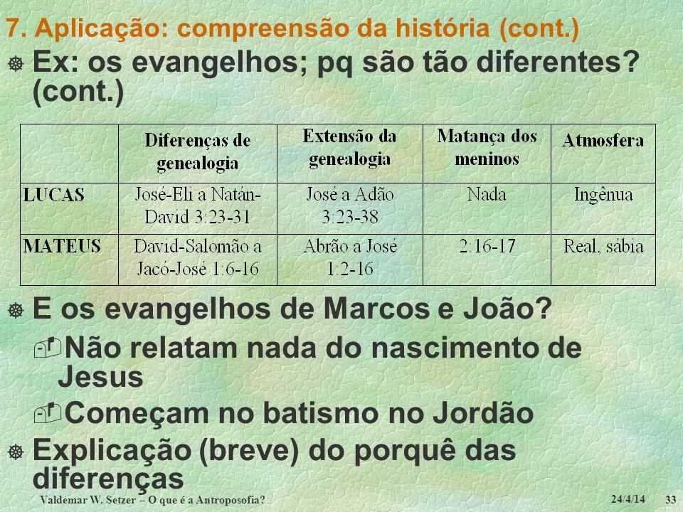 24/4/14 Valdemar W. Setzer – O que é a Antroposofia? 33 7. Aplicação: compreensão da história (cont.) Ex: os evangelhos; pq são tão diferentes? (cont.